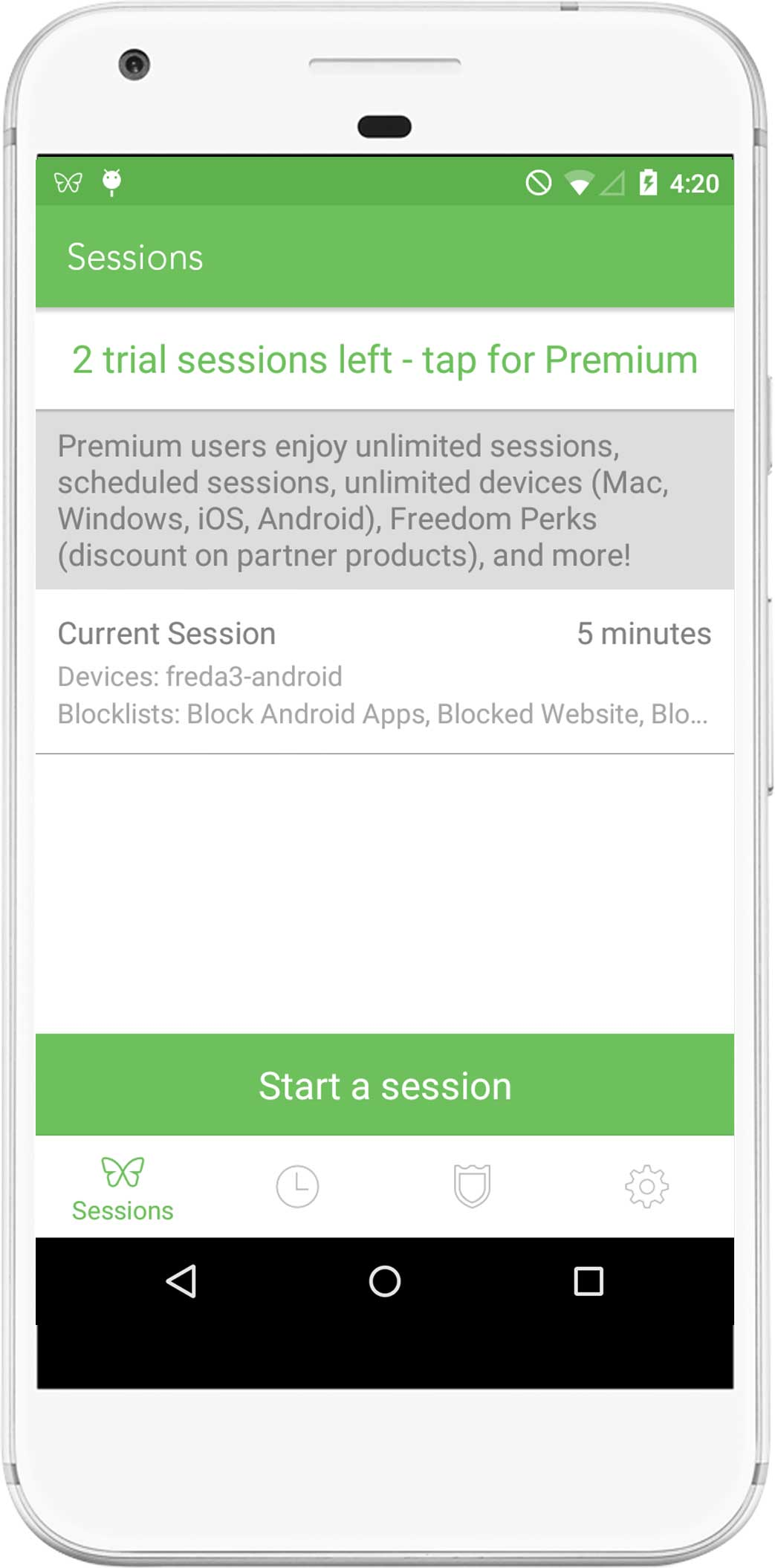 A screenshot showing one active session that is running on multiple devices, showing the time left. A countdown indicates that there are 5 minutes remaining before the session ends.