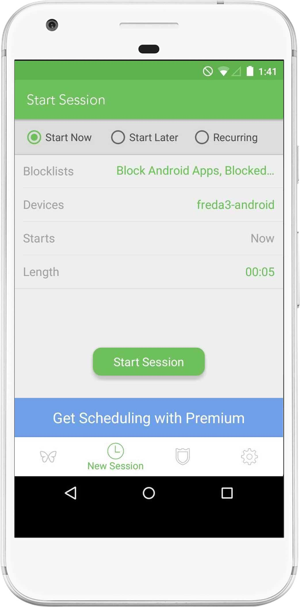 A screenshot showing the interface for starting a session, with controls to select the blocklists, devices, and duration for the session.