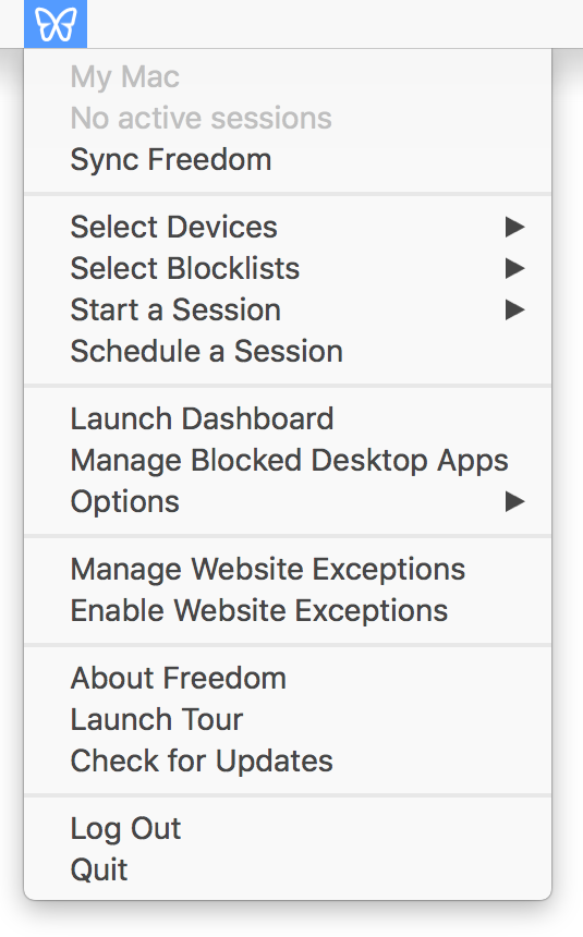 A screenshot showing the menubar interface for starting a session, with menu items for selecting the blocklists, devices, and duration for the session
