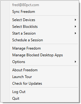 A screenshot showing the taskbar menu interface for starting a session, with menu items for selecting the blocklists, devices, and duration for the session