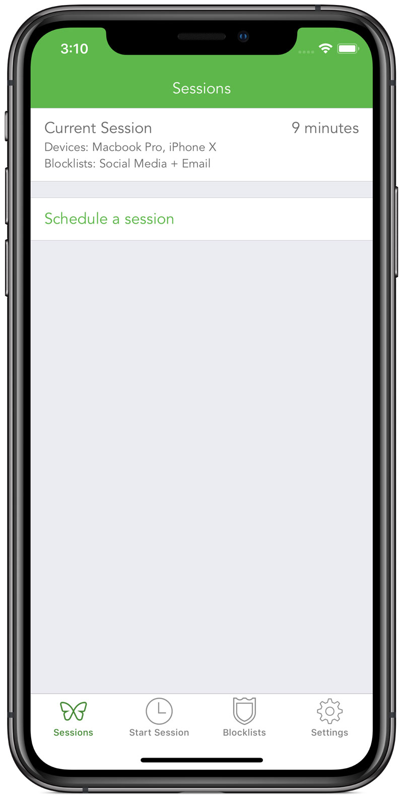 A screenshot showing one active session that is running on your Macbook Pro and iPhone X, blocking social media and email. A countdown indicates that there are 9 minutes remaining before the session ends.