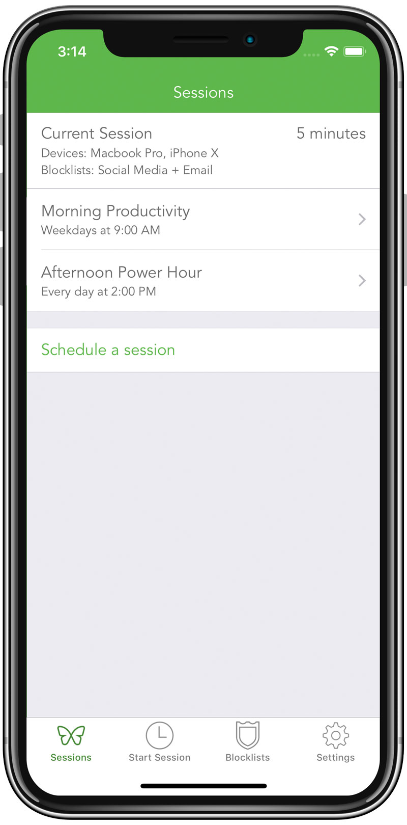 A screenshot showing a list of recurring sessions, with names like morning productivity (weekdays at 9:00 AM) and afternoon power hour (Every day at 2:00 PM).